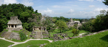 在古老帕伦克玛雅人考古学站点的全景:废墟,寺庙 免版税图库摄影