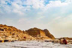 在古老废墟附近的骆驼在开罗,埃及 免版税库存图片