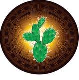 在古老玛雅日历的风格化图象背景的仙人掌  皇族释放例证