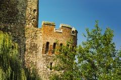 在古老的巨大看法城堡部分在罗马尼亚 图库摄影