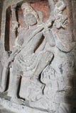 在古老石头被雕刻的Kailasa寺庙墙壁上的艺术,不使16, Ellora陷下陷下,印度 免版税库存照片