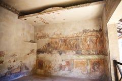在古老罗马墙壁上的壁画绘画 免版税库存图片