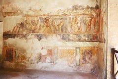 在古老罗马墙壁上的壁画绘画 免版税图库摄影