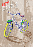 在古老街道的手拉的颜色城市自行车 也corel凹道例证向量 库存照片