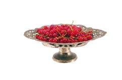 在古老金属花瓶的红浆果 库存照片