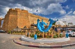 在古老麦地那, Hammamet,突尼斯附近的纪念碑3美人鱼Sirenas 免版税库存照片