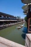 在古老水镇运河的工作艇在朱家角 免版税库存照片