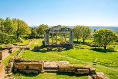 在古老Apollonia的寺庙废墟 免版税库存照片