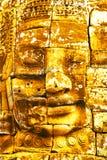 在古老Bayon寺庙的金石头 免版税库存图片