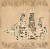 在古色古香的地图-减速火箭的明信片的帆船剪影 免版税库存图片