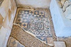 在古色古香的罗马别墅,亚历山大,埃及的马赛克细节 免版税库存图片