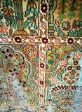 在古色古香的阿拉伯手被编织的羊毛地毯的细节 库存图片