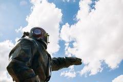 在古铜色潜水者灯塔的雕塑 莫斯科俄国 库存图片