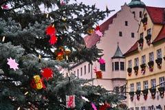 在古镇大厅的圣诞树 免版税库存照片
