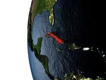 在古巴的日落从空间 向量例证