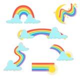 在另外形状现实集合的彩虹在被隔绝的白色背景 向量例证