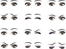 在另外情感的传染媒介女性眼睛 库存照片