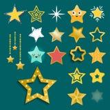 在另外样式的发光的星象指向了五角形金奖摘要设计乱画夜艺术性的标志传染媒介 库存图片