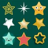 在另外样式的发光的星象指向了五角形金奖摘要设计乱画夜艺术性的标志传染媒介 免版税库存照片