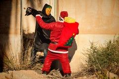 在可怕的问题的圣诞老人 免版税图库摄影