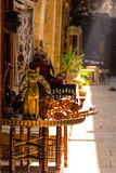 在可汗elKhalili义卖市场,开罗的古老猫雕象纪念品我 库存图片