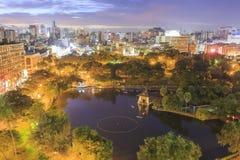 在台中大城市公园的日落,台湾 免版税库存图片
