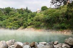 在台北,台湾蒸过来从在热量谷的温泉 免版税库存图片