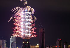 在台北101大厦的烟花在台湾打开2017新年holid的地平线 免版税库存照片