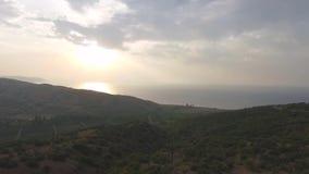 在台湾的鸟瞰图有沿海和日落背景的 射击 日月潭,台湾鸟瞰图  股票录像