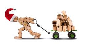 在台车的箱子人移动的箱子 免版税库存图片