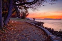 在史丹利公园的五颜六色的秋天日出 免版税库存图片