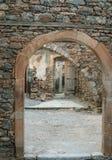 在史宾纳隆加岛海岛,克利特,希腊上的老威尼斯式堡垒 免版税库存照片