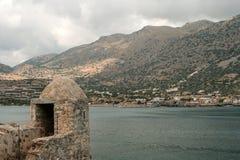 在史宾纳隆加岛海岛,克利特,希腊上的老威尼斯式堡垒 库存图片