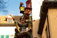 在史特拉斯堡圣诞节市场上的地精装饰 库存照片