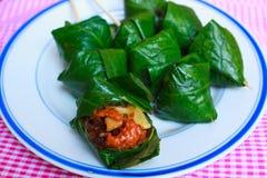 在叶子包裹的Miang Kam食物,泰国 免版税库存图片