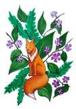 在叶子和花背景的梦想的狐狸  向量例证