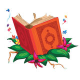 在叶子的书包围与花 库存照片
