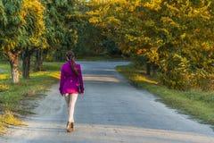 在叶子的秋天,女孩进入沿大道的距离 图库摄影