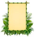 在叶子的绿色竹框架 皇族释放例证