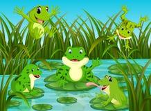 在叶子的许多青蛙有河场面的 向量例证
