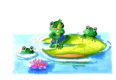 在叶子荷花的青蛙 库存图片