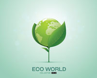 在叶子eco世界绿色世界的世界 免版税库存照片
