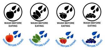 在吃套前的洗涤标志 黑色和颜色版本标志, 向量例证