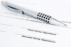在合同的笔 免版税库存图片