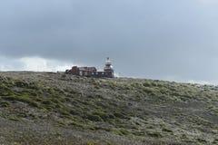 在合恩角的著名灯塔-火地群岛群岛的最南端的点  库存图片