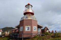 在合恩角的著名灯塔-火地群岛群岛的最南端的点  免版税图库摄影