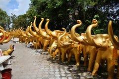 在合艾的大象雕塑 免版税图库摄影