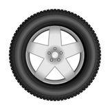 在合金轮子的车胎 图库摄影