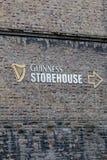 在吉尼斯仓库围住细节,讲啤酒厂的经验爱尔兰` s著名啤酒的传说在圣詹姆斯` s门的 库存照片
