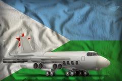 在吉布提状态旗子背景的轰炸机 3d?? 皇族释放例证